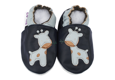 77a626e2ac52f Bébé Girafe - Chausson bébé - Chaussons bébé garçon cuir souple