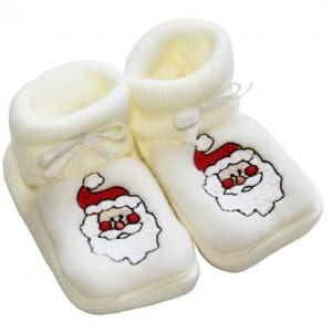 Chaussons brodés blanc père Noel